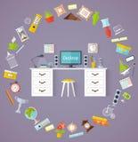 Vectordesktop met materiaal en decor Royalty-vrije Stock Fotografie