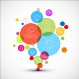 Vectordiagram infographic malplaatje met diverse beschrijvende cirkels Stock Foto