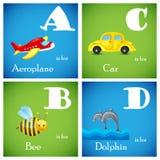 Vectordie Alfabet van A aan D wordt geplaatst Royalty-vrije Stock Afbeeldingen
