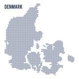 Vectordie hexagon kaart van Denemarken op witte achtergrond wordt geïsoleerd Royalty-vrije Stock Foto