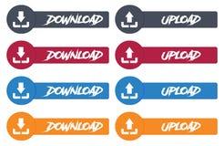 Vectordie modern uploadt en downloadt ontwerppictogram in knoop wordt geplaatst Stock Afbeelding