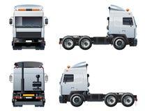 Vectordie semi-vrachtwagenmalplaatje op wit wordt geïsoleerd Royalty-vrije Stock Foto's
