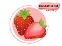 VectordieAardbeienfruit op kleurenachtergrond wordt geïsoleerd, illustrator 10 eps Stock Afbeelding