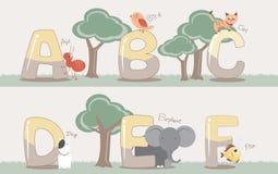 Vectordiealfabet van A aan F met leuke dieren wordt geplaatst Stock Foto
