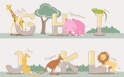 Vectordiealfabet van G aan L met leuke dieren wordt geplaatst royalty-vrije illustratie