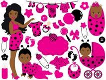 VectordieBabymeisje met Lieveheersbeestjepatroon wordt geplaatst Vector Afrikaans Amerikaans Babymeisje royalty-vrije illustratie