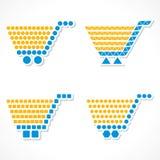 VectordieBoodschappenwagentjepictogram met verschillende vorm wordt geplaatst Stock Afbeelding