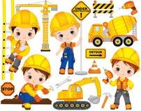 VectordieBouw met Leuke Kleine Bouwers, Vervoer en Hulpmiddelen wordt geplaatst Vector Kleine Jongens Stock Afbeeldingen