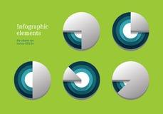Vectordiecirkeldiagrammen voor uw infographics worden geplaatst stock illustratie
