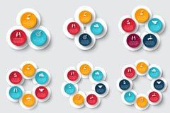 Vectordiecirkelelementen voor infographic worden geplaatst Stock Afbeeldingen