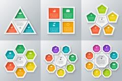 Vectordiecirkelelementen voor infographic worden geplaatst royalty-vrije stock afbeeldingen