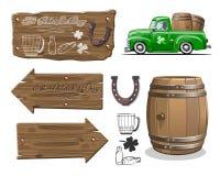 Vectordieelementen voor de ontwerpen van het Bierfestival worden geplaatst Royalty-vrije Stock Afbeelding