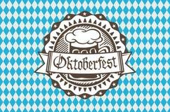 Vectordieembleem voor Oktoberfest in de bar of bar tijdens fest, biermok met schuim aan de rand wordt gevuld royalty-vrije illustratie