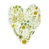 Vectordiehart van waterverfbloemen wordt gemaakt Ecologieembleem liefdepictogram Stock Afbeeldingen