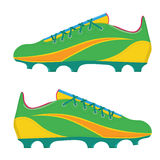 Vectordieillustratie de laarzen van een voetbalvoetbal op een witte achtergrond worden geïsoleerd Stock Afbeelding