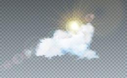 VectordieIllustratie met Wolk en Zonlicht op Transparante Achtergrond wordt geïsoleerd Het vectorontwerp Elemet van de Aardhemel  royalty-vrije illustratie