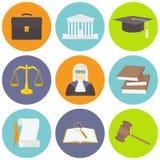 Vectordieillustratie van wetspictogrammen in vlakke stijl worden geplaatst Stock Foto