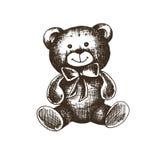 Vectordieillustratieschets van een teddybeer op een wit wordt geïsoleerd Royalty-vrije Stock Afbeeldingen