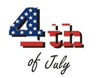 """Vectordieinschrijvings†""""vierde van Juli, in de kleuren van de Amerikaanse vlag wordt geschilderd Stock Afbeelding"""