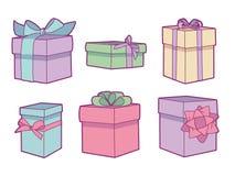 Vectordieinzameling met de verschillende pastelkleur gekleurde dozen van de verjaardagsgift wordt geplaatst vector illustratie