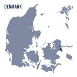 Vectordiekaart van Denemarken op witte achtergrond wordt geïsoleerd Stock Foto