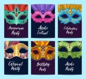 Vectordiekaart of vliegermalplaatjes met Carnaval-maskersillustratie worden geplaatst royalty-vrije illustratie