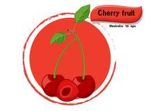 VectordieKersenfruit op kleurenachtergrond wordt geïsoleerd, illustrator 10 eps Royalty-vrije Stock Afbeeldingen