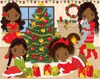 VectordieKerstmis en Nieuwjaar met Leuke Kleine Afrikaanse Amerikaanse Meisjes en de Winterelementen wordt geplaatst Stock Afbeelding