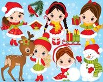 VectordieKerstmis en Nieuwjaar met Leuke Meisjes en de Winter Feestelijke Elementen wordt geplaatst stock illustratie