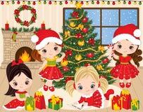 VectordieKerstmis en Nieuwjaar met Leuke Meisjes en Kerstmiselementen wordt geplaatst stock illustratie