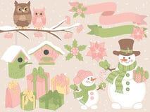 VectordieKerstmis en Nieuwjaar met Sneeuwmannen, Uilen en Feestelijke de Winterelementen wordt geplaatst stock illustratie