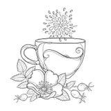 Vectordiekop van Rozebottelaftreksel op witte achtergrond wordt geïsoleerd De overzichtshond nam bloem, heupen en bladeren in con stock illustratie