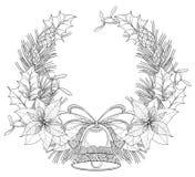 Vectordiekroon met de bloem van overzichtspoinsettia, hulstbes, maretak, pijnboom, kegel en klok met boog op witte achtergrond wo stock illustratie