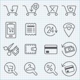 Vectordielijnpictogrammen voor Webontwerp en gebruikersinterface worden geplaatst Stock Foto