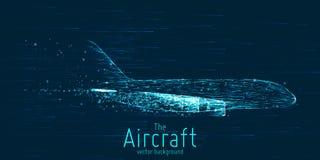 Vectordielijnvliegtuig met gloeiende lijnen wordt geconstrueerd Dun lijn wireframe concept Vliegtuigen die in hemel met motieslep stock illustratie