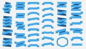 Vectordielintbanners op Witte achtergrond worden geïsoleerd Blauwe banden Reeks van 37 blauwe lintbanners stock illustratie