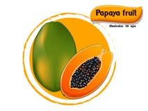VectordiePapajafruit op kleurenachtergrond wordt geïsoleerd, illustrator 10 eps Royalty-vrije Stock Foto's