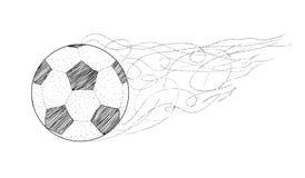 VectordiePunten, lijnensilhouet van een Voetbal/een Voetbalbal op witte achtergrond wordt geïsoleerd Het kampioenschap van de de  Royalty-vrije Stock Fotografie