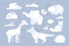 Vectordier gestalte gegeven wolkenreeks Stock Illustratie