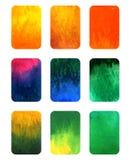Vectordiereeks elementen van de gradiëntwaterverf voor ontwerp op wit wordt geïsoleerd Stock Foto