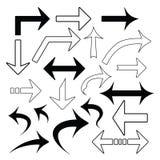 Vectordiereeks pijlen op wit wordt geïsoleerd Stock Illustratie