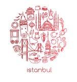 Vectordiereeks symbolen van Istanboel op wit in cirkelsamenstelling wordt geïsoleerd stock illustratie