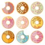 Vectordiereeks van doughnut op een witte achtergrond wordt geïsoleerd Royalty-vrije Stock Afbeeldingen