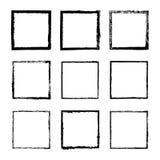 Vectordiereeks van vierkant met inktkader 4 wordt getrokken Stock Fotografie