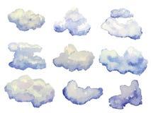 Vectordiereeks waterverfwolken op wit wordt geïsoleerd Royalty-vrije Stock Fotografie