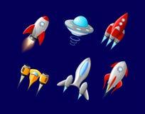 Vectordieruimteschip en UFOvector in beeldverhaalstijl wordt geplaatst Raket en ruimtevaartuig, futuristisch vervoer, inzamelings royalty-vrije illustratie