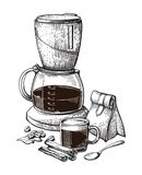 VectordieSchets van de koffie de Hand Getrokken Inzameling met van de de Bonenmaker van de Koppenzak de Kaneel van Latte wordt ge stock illustratie