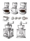 VectordieSchets van de koffie de Hand Getrokken Inzameling met van de Makerlatte van Koppenbonen de molenmachine wordt geplaatst stock illustratie