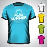 Vectordiet-shirt met de illustratie van de de zomervakantie wordt geplaatst Stock Afbeelding