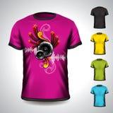 Vectordiet-shirt op een muzikaal thema wordt geplaatst vector illustratie
